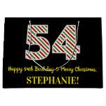[ Thumbnail: Happy 54th Birthday & Merry Christmas, Custom Name Gift Bag ]