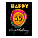 Happy 55 Birthday Colorful Gold Green Red Balloon Post Cards