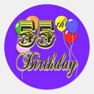 Happy 55th Birthday Celebration Classic Round Sticker
