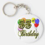 Happy 55th Birthday Celebration Key Chain