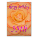Hand shaped Happy 55th Birthday Flower Card
