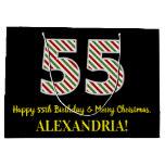 [ Thumbnail: Happy 55th Birthday & Merry Christmas, Custom Name Gift Bag ]