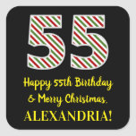 [ Thumbnail: Happy 55th Birthday & Merry Christmas, Custom Name Sticker ]