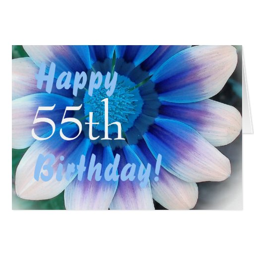 happy 55th birthday with magic blue flower card zazzle. Black Bedroom Furniture Sets. Home Design Ideas