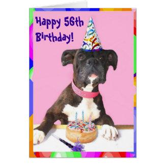 Happy 56th Birthday Boxer greeting card