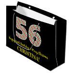 [ Thumbnail: Happy 56th Birthday & Merry Christmas, Custom Name Gift Bag ]