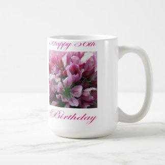 Happy 56th Birthday Pink and Green Flower Coffee Mug