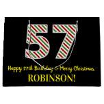 [ Thumbnail: Happy 57th Birthday & Merry Christmas, Custom Name Gift Bag ]