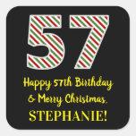 [ Thumbnail: Happy 57th Birthday & Merry Christmas, Custom Name Sticker ]