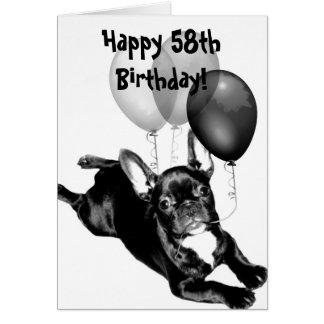 Happy 58th Birthday French Bulldog Greeting Card