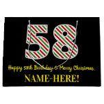 [ Thumbnail: Happy 58th Birthday & Merry Christmas, Custom Name Gift Bag ]