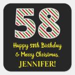 [ Thumbnail: Happy 58th Birthday & Merry Christmas, Custom Name Sticker ]