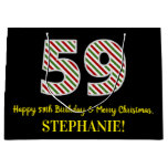 [ Thumbnail: Happy 59th Birthday & Merry Christmas, Custom Name Gift Bag ]