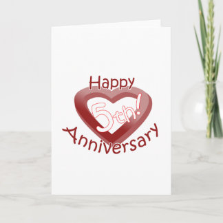 """Happy 5th Anniversary"" Heart design Card"
