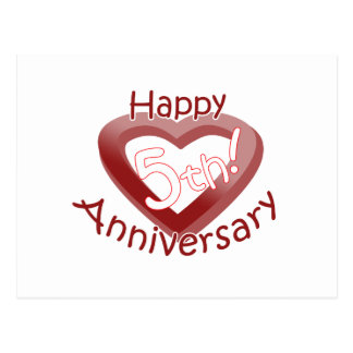 """Happy 5th Anniversary"" Heart design Postcard"