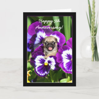 Happy 5th Anniversary Pug in pansies card