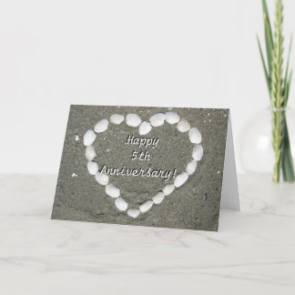 Happy 5th Anniversary Seashell heart greeting card