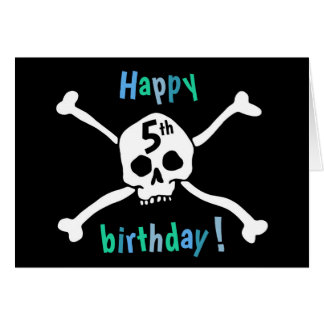 Happy 5th birthday card for pirate lovers
