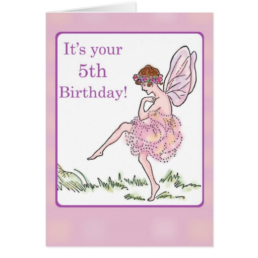 Happy 5th Birthday Fairy For Girl Greeting Card Zazzle Happy 5th Birthday Wishes To My