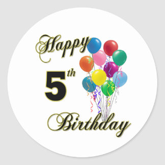 Happy 5th Birthday Gifts and Birthday Apparel Classic Round Sticker