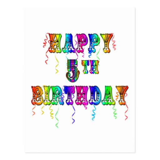 Happy 5th Birthday Gifts - Circus Font Postcard