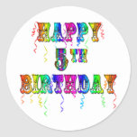 Happy 5th Birthday Gifts - Circus Font Sticker