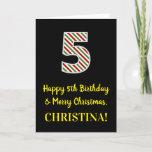 [ Thumbnail: Happy 5th Birthday & Merry Christmas, Custom Name Card ]