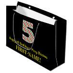[ Thumbnail: Happy 5th Birthday & Merry Christmas, Custom Name Gift Bag ]