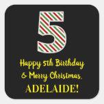 [ Thumbnail: Happy 5th Birthday & Merry Christmas, Custom Name Sticker ]