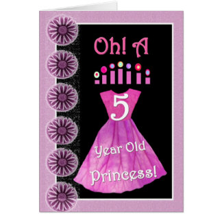 Happy 5th Birthday Princess - Pink Dress & Candles Card