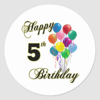 Happy 5th Birthday Stickers and Birthday Apparel