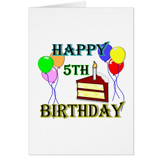 Happy 5th Birthday with Cake, Balloons and Candle Card