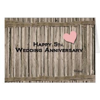 Happy 5th. Wedding Anniversary Greeting Card
