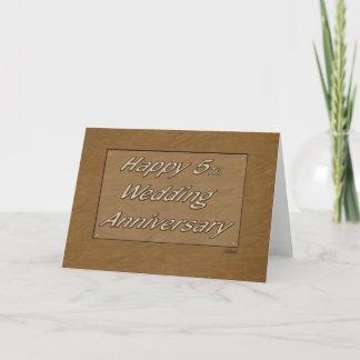 Happy 5th. Wedding Anniversary Wood Card