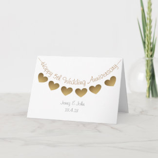 Happy 5th Wedding Anniversary, wood heart bunting Card