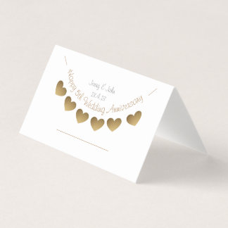 Happy 5th Wedding Anniversary, wood heart bunting Place Card