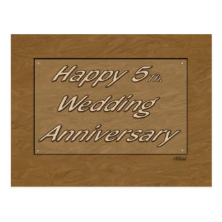 Happy 5th. Wedding Anniversary Wood Postcard