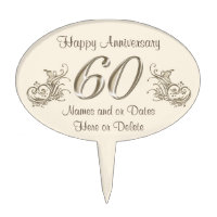 Happy 60th Anniversary Cake Topper with YOUR TEXT