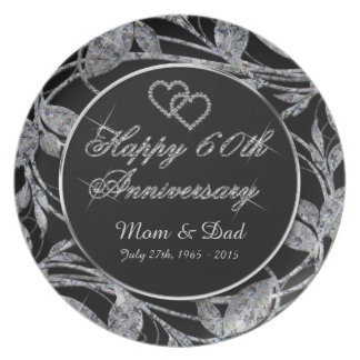 Happy 60th Anniversary Diamond Leaves Party Plates