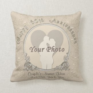 Happy 60th Anniversary Gifts PHOTO, NAMES, DATE Pillow