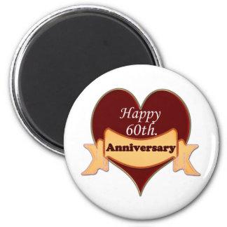 Happy 60th. Anniversary 2 Inch Round Magnet