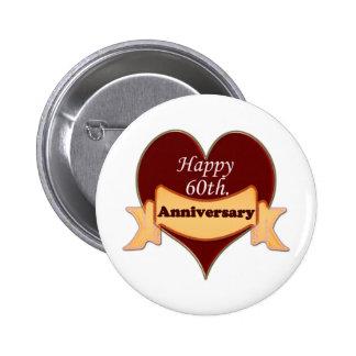 Happy 60th. Anniversary Pinback Button
