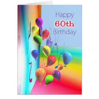Happy 60th Birthday Balloon Wall Card