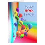 Happy 60th Birthday Balloon Wall Cards
