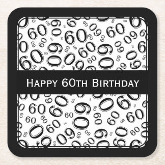 """Happy 60th Birthday"" Black/White Party Theme Sq Square Paper Coaster"