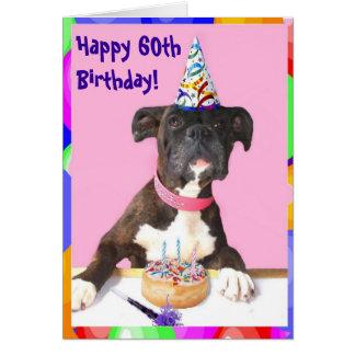 Happy 60th Birthday Boxer greeting card