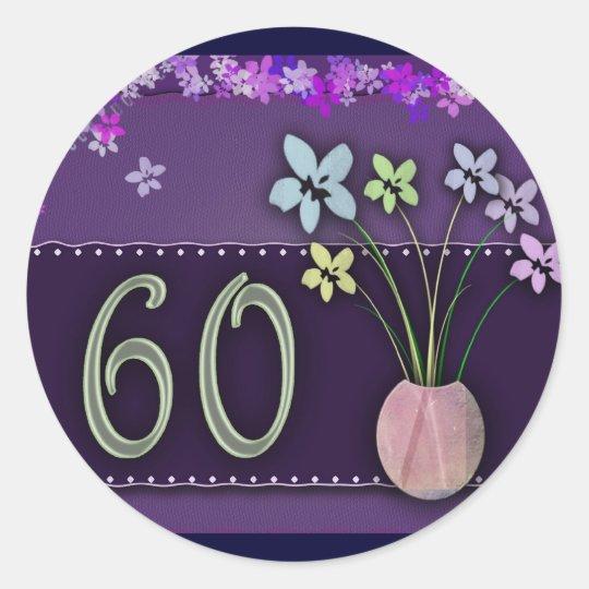 Happy 60th Birthday Classic Round Sticker