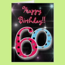 Happy 60th birthday fun & bright polka dot card