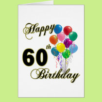 Happy 60th Birthday Gifts and Birthday Apparel Card