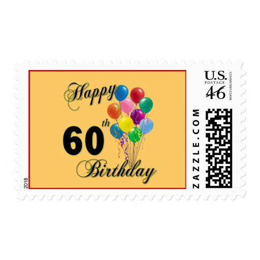 Happy 60th Birthday Gifts and Birthday Apparel Postage Stamp